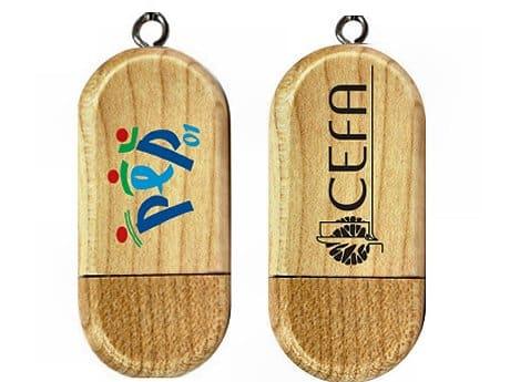Clé USB publicitaire Bois GALET avec marquage logo