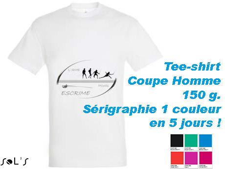 Tee-shirt blanc avec serigraphie delai rapide