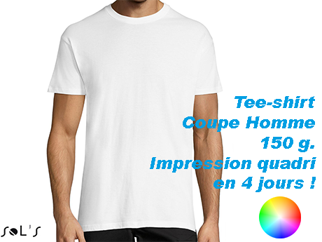 tee shirt blanc personnalisé en couleur