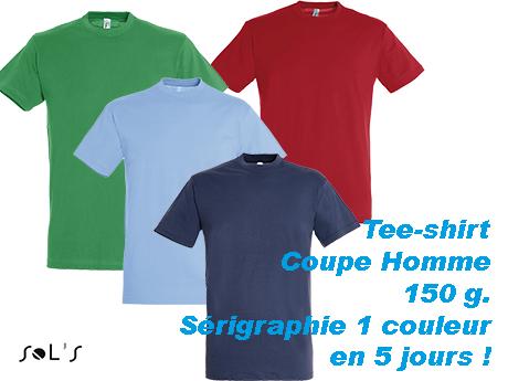 Tee-shirt publicitaire marquage 1 couleur