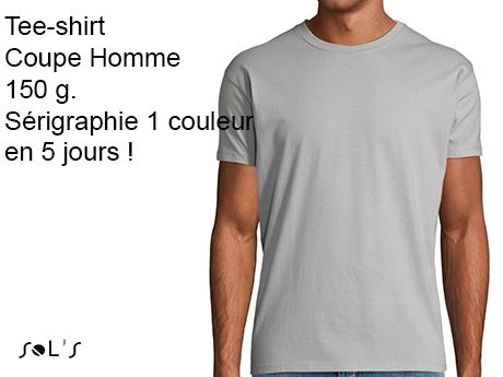 tee-shirt personnalisé homme serigraphie 1 couleur
