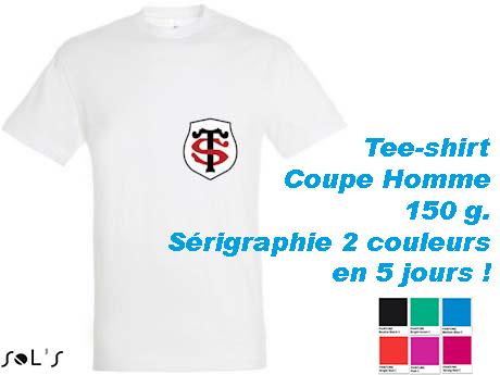 Tee-shirt blanc avec marquage sérigraphie 2 couleurs