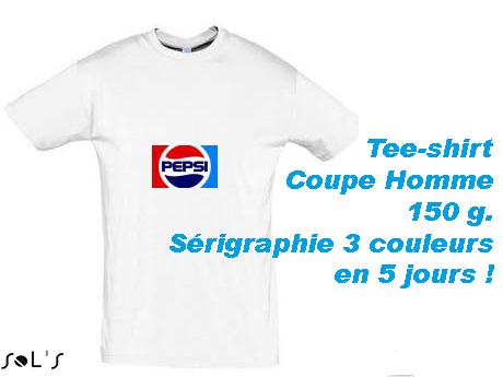 Tee-shirt blanc personnalisé avec SERIGRAPHIE 3 couleurs