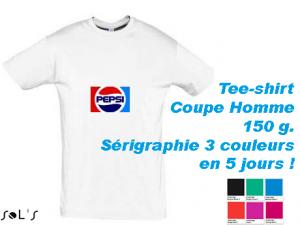 Tee-shirt blanc avec marquage sérigraphie 3 couleurs