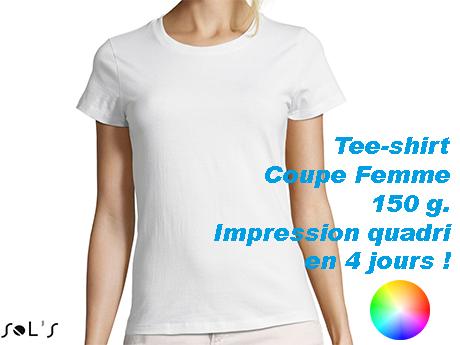 Tee shirt personnalisé coton blanc coupe femme