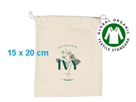 Pochon publicitaire coton bio écru 15 x 20 cm