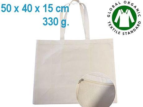 sac coton cabas bio ecru grand format soufflet