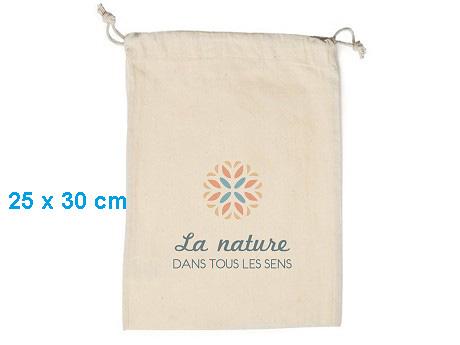 Pochon publicitaire coton format M – 25 x 30 cm