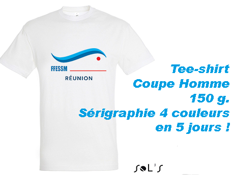 Tee-shirt blanc avec marquage sérigraphie 4 couleurs