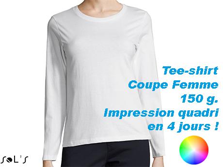 Tee shirt blanc personnalisé femme manches longues