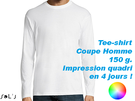 tee shirt blanc homme manche longues