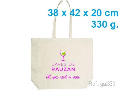 Sac CABAS publicitaire coton soufflet 38 x 42 x 20 cm - 330 g -