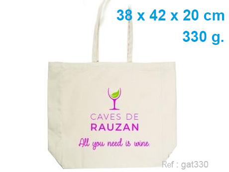 Sac CABAS publicitaire coton soufflet 38 x 42 x 20 cm - 330 g