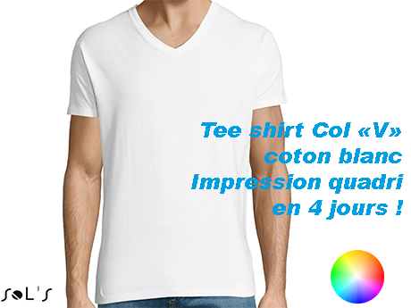 Tee shirt blanc publicitaire col V