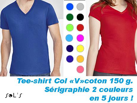 Tee shirt couleur publicitaire col V serigraphie 2 couleurs