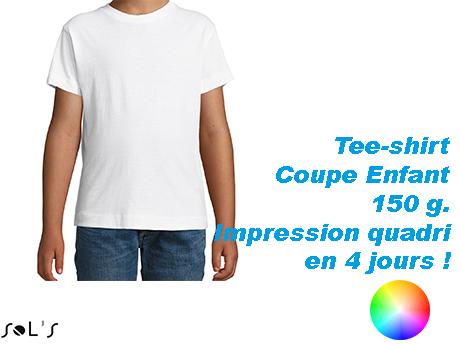 Tee-shirt publicitaire enfant coton blanc