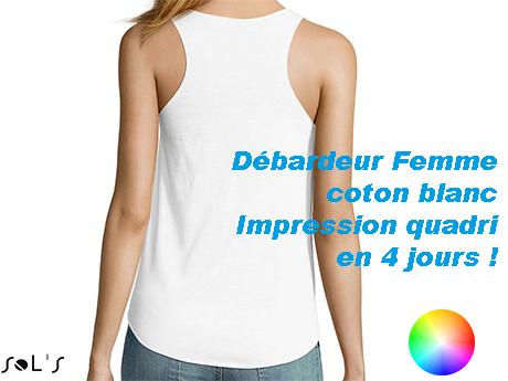 Débardeur personnalisé Femme coton blanc