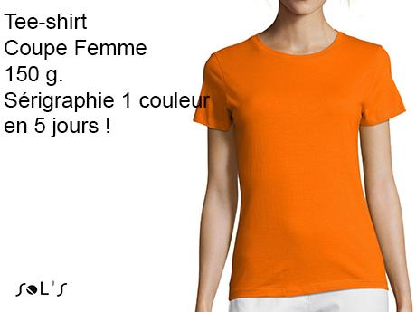 tee shirt personnalisé femme sérigraphie 1 couleur