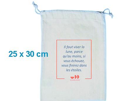 Pochon publicitaire coton blanc format 25 x 30 cm