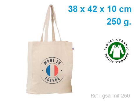 Sac cabas publicitaire coton BIO soufflet intégral 38 X 42 X 10 cm – 250 G – Made In France