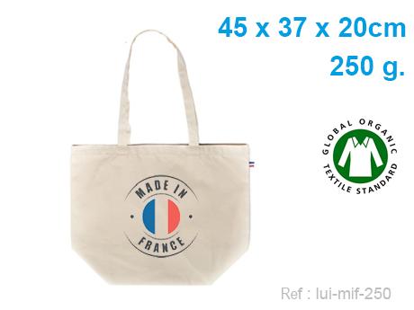 Sac cabas publicitaire coton BIO soufflet bas 45 X 37 X 20 cm – 250 G – Made In France - Marquage numérique